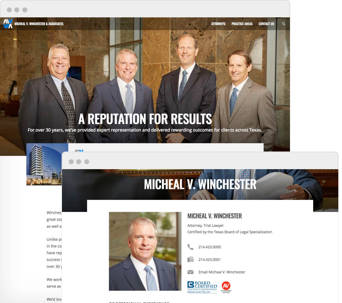 Screenshot of Micheal V Winchester and Associates