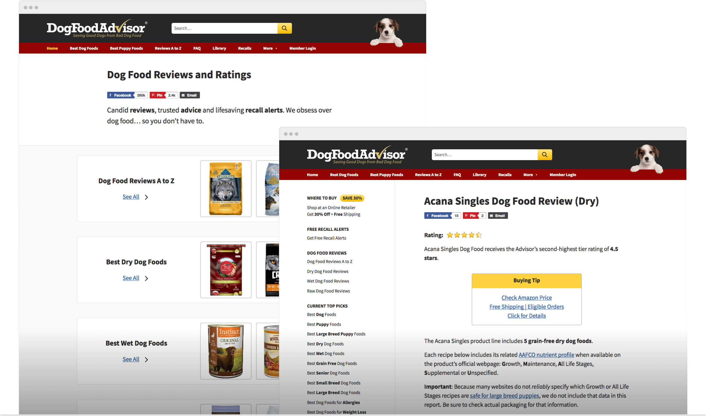 Screenshot of Dog Food Advisor
